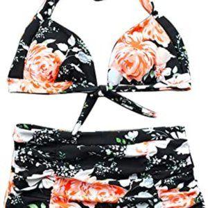 Cupshe Printing High-Waisted Halter Bikini Set
